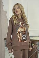 Модные женские худи с принтом Zhilina collection X-01S M Мокко