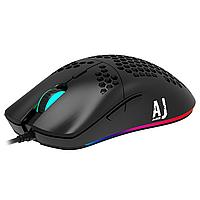 Игровая проводная USB мышь с подсветкой Ajazz AJ390 PAW3338 Black (черная), Геймерская светящаяся RGB мышка
