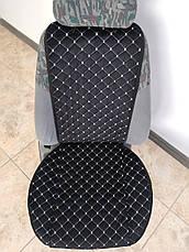 Накидки на сиденья авто из АЛЬКАНТАРЫ (искусственной замши). Серая строчка. Комплект, фото 3