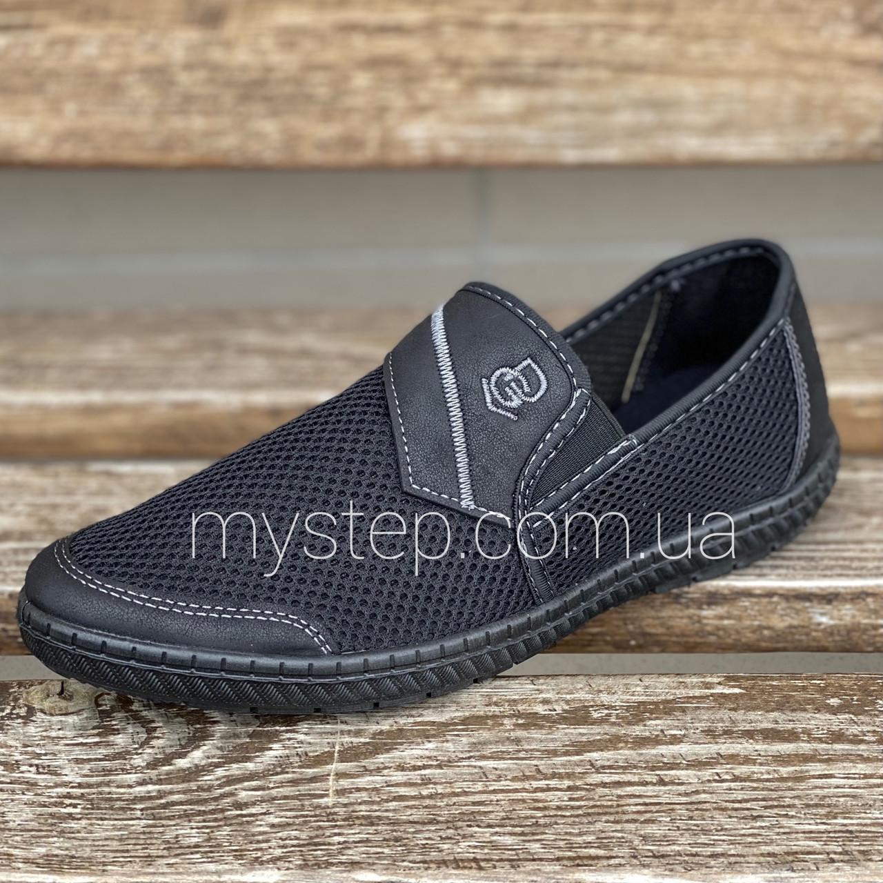 Мокасини чоловічі сітка чорні Dago style М81