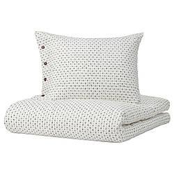 IKEA VÄGTÅG  Комплект постельного белья, белый / темно-коричневый (004.822.73)