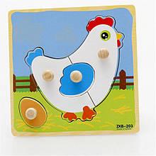Дерев'яна іграшка WD599 вкладиші (Курочка)