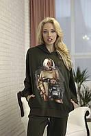 Модное женское худи оверсайз Zhilina collection X-01S S Хаки
