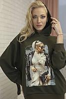 Модное худи женское оверсайз Zhilina collection X-01K S Хаки