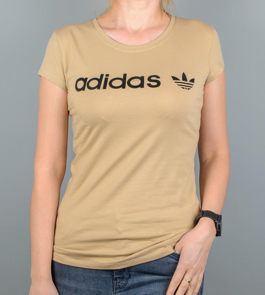 Футболка женская спортивная Adidas (2017ж), Капучино
