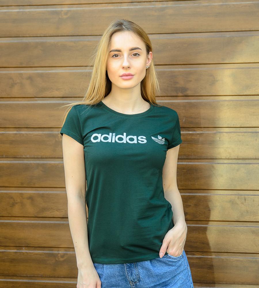 Футболка женская спортивная Adidas (2017ж), Т.Зелёный