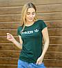 Футболка женская спортивная Adidas (2017ж), Т.Зелёный, фото 2