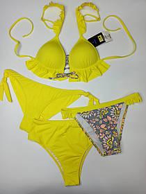 Купальный комплект трое плавок лиф с рюшами Sisianna 51151 желтый на 42 44 46 48 размер