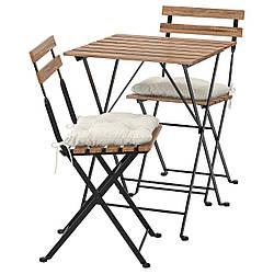 IKEA TÄRNÖ  Стол + 2 стула, садовый, черный / светло-коричневая морилка / бежевая Куддарна (392.867.18)