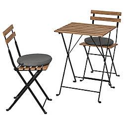 IKEA TÄRNÖ  Стол + 2 стула, садовый, черный / светло-коричневая морилка / Frösön / Duvholmen темно-серый