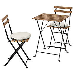 IKEA TÄRNÖ  Стол + 2 стула, садовый, черный / светло-коричневая морилка / Frösön / Duvholmen beige