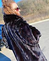 Женская норковая шуба фирменная размер L с декорированными рукавами