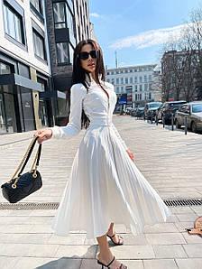 Женское платье миди с плиссированной юбкой на молнии 42-46 р