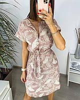 Платье с цветочным принтом/ листьями летнее женское (ПОШТУЧНО), фото 1