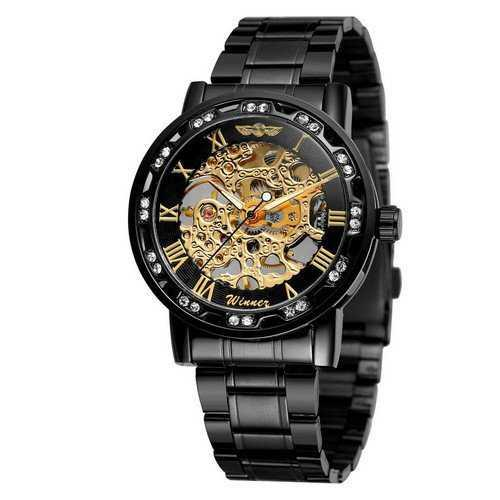 Winner 8012 Diamonds Automatic Black-Gold