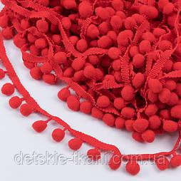 Тесьма с редкими помпонами 10 мм красного цвета