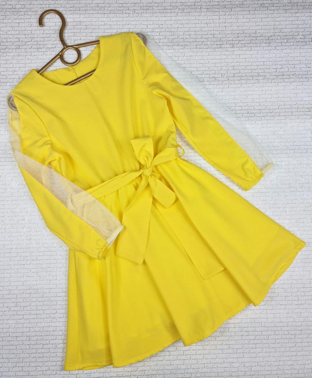 Платье с интересным рукавом на девочку 122,128,134,140,146,152 см, желтый