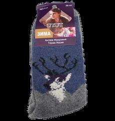 Шкарпетки термо ангора і шерсть з махрою розмір 36-41 сірі