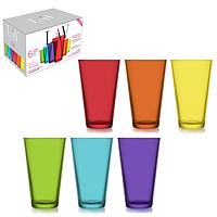 Стаканы цветные стеклянные набор 6 шт. (320 мл.), фото 1