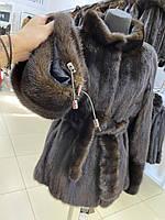 Жіночий норковий кожушок розмір М під пояс з лаштунками в рукавах