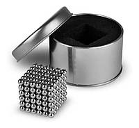 Оригинальный подарок Неокуб Neocube серебристый 216 неодимовых 5мм шариков сфер Магнитный конструктор