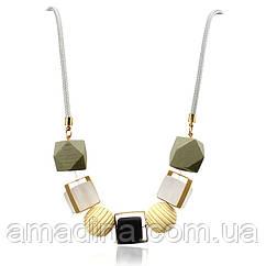 Красивое колье ожерелье, женские бусы крупные красивые деревянные
