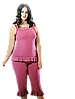 Женская летняя пижама с бриджами большого размера 56-58, розовая 3 предмета MDL Турция, фото 2