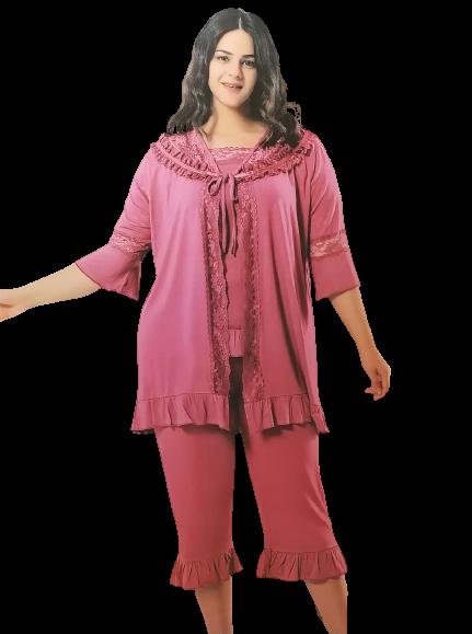 Женская летняя пижама с бриджами большого размера 56-58, розовая 3 предмета MDL Турция