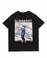 Чёрная футболка Burberry (с принтом мужская женская)