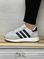 Женские кроссовки Adidas Iniki Runner White Серые Белые адидас