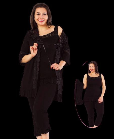 Женская пижама с бриджами большого размера, черная 3 предмета 56,58,60 MDL Турция