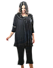 Женская пижама с бриджами большого размера, черная 3 предмета 56,58,60 MDL Турция, фото 8