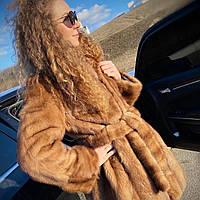 Женская норковая шуба размер XL натуральная некрашеная норка песочного цвета