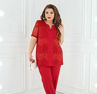 Костюм женский большого размера, Брючный костюм-двойка состоит из удлиненной блузы и классических брюк. Блуза