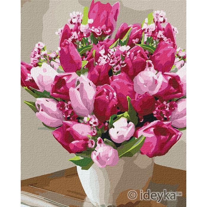 """Картина за номерами. Букети """"Яскраві тюльпани"""" 40*50см KHO3006"""