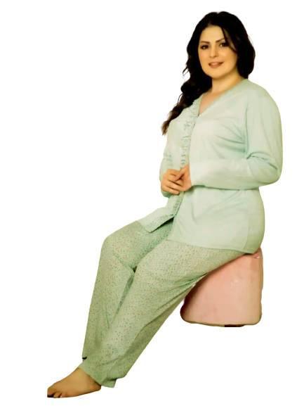Женские пижамы с длинным рукавом, батальных размеров нежного мятного цвета Arcan Турция