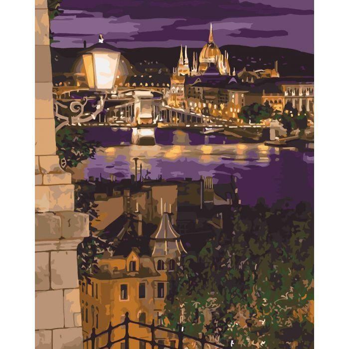 """Картина по номерам. Городской пейзаж """"Магические краски Будапешта""""  KHO3534, 40*50 см"""