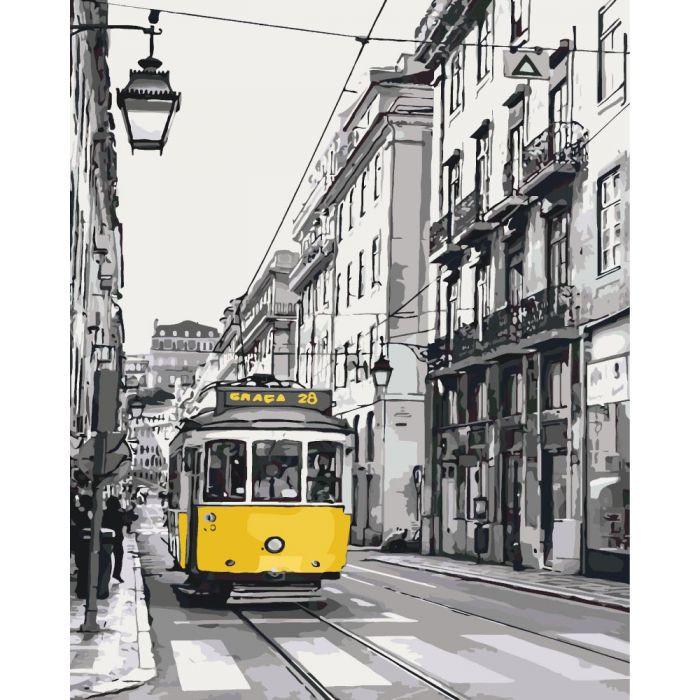 """Картина за номерами. Міський пейзаж """"Жовтий трамвайчик"""" KHO2187, 40х50 см"""