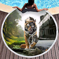 Пляжний килимок/ покривало Тигр з бахромою щільний мікрофібра (150 см) FL 253