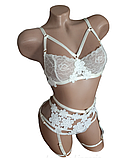 Атласный эротический комплект нижнего белья с поясом., фото 2
