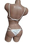 Женский комплект белья из кружева и атласа с поясом Белое, фото 4