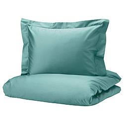 IKEA LUKTJASMIN  Комплект постельного белья серо-бирюзовый (704.844.19)