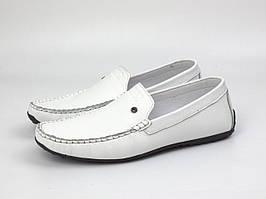 Белые летние мокасины мужские кожаные обувь летняя Rosso Avangard M4 Max White Floto