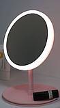 Настільне дзеркало з LED підсвічуванням для макіяжу кругле (W8), фото 2