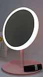 Настольное зеркало c LED подсветкой для макияжа круглое  (W8), фото 2