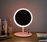 Настільне дзеркало з LED підсвічуванням для макіяжу кругле (W8), фото 4
