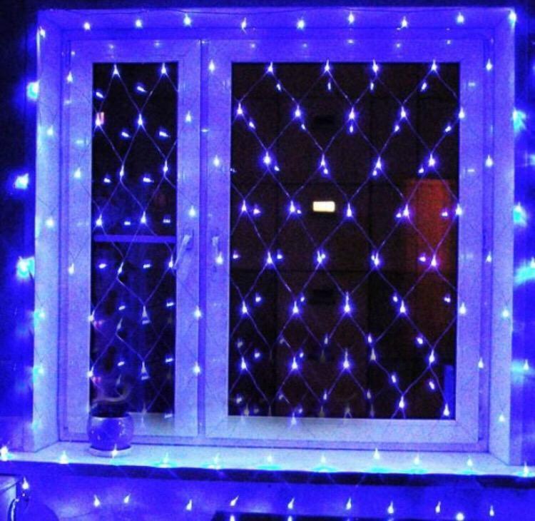 Гірлянда Сітка Xmas 1.5 м х 1.5 м , 144 Led, синій колір,прозорий провід