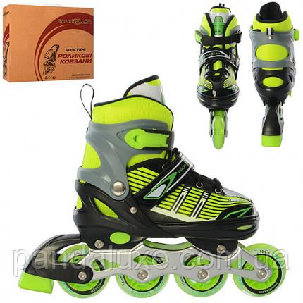 Ролики детские раздвижные роликовые коньки A 4139-M размер (35-38) (Зеленый), фото 2