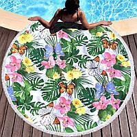 Підстилка на пляж/пляжне рушник Квіти і метелики FL 260