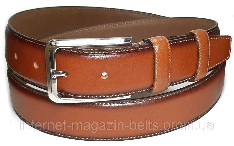 Чоловічий ремінь шкіряний Bond 11400B коричневий